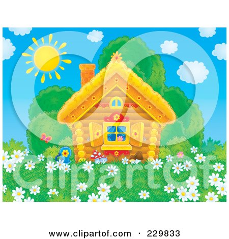 Royalty-Free (RF) Clipart Illustration of a Cute Log Cabin With A Field Of Daisy Flowers - 1 by Alex Bannykh