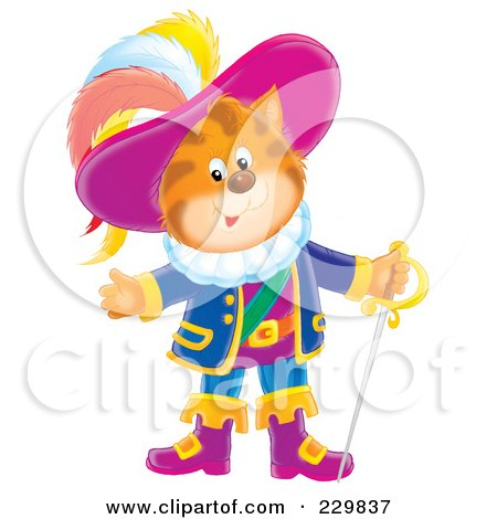 Royalty-Free (RF) Clipart Illustration of Puss In Boots With A Sword - 2 by Alex Bannykh