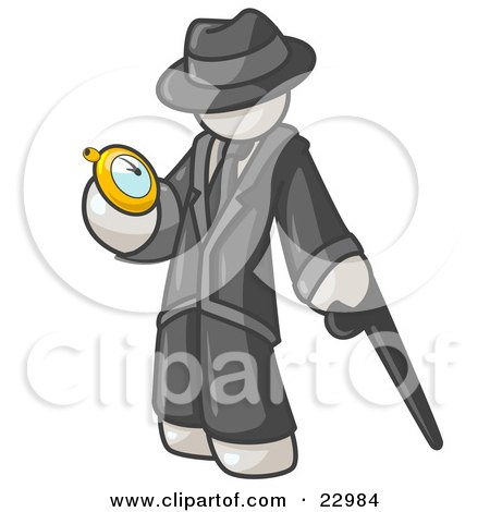 Clipart Illustration of a White Businessman Checking His Pocket Watch by Leo Blanchette