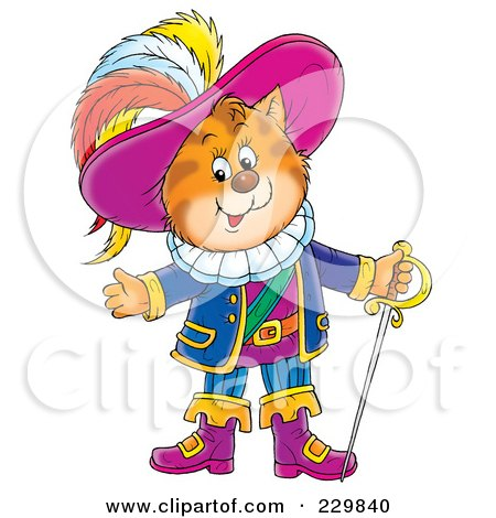 Royalty-Free (RF) Clipart Illustration of Puss In Boots With A Sword - 1 by Alex Bannykh