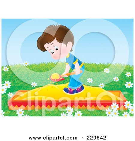 Royalty-Free (RF) Clipart Illustration of a Boy Playing In A Sand Box - 3 by Alex Bannykh