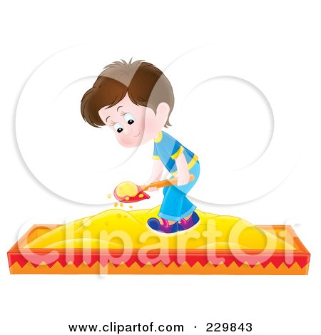 Royalty-Free (RF) Clipart Illustration of a Boy Playing In A Sand Box - 1 by Alex Bannykh