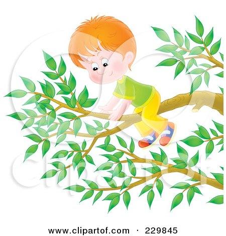 Royalty-Free (RF) Clipart Illustration of a Boy On A Tree Branch - 2 by Alex Bannykh