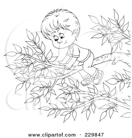 Royalty-Free (RF) Clipart Illustration of a Coloring Page Outline Of A Boy On A Tree Branch by Alex Bannykh