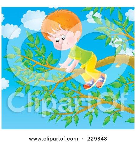Royalty-Free (RF) Clipart Illustration of a Boy On A Tree Branch - 3 by Alex Bannykh