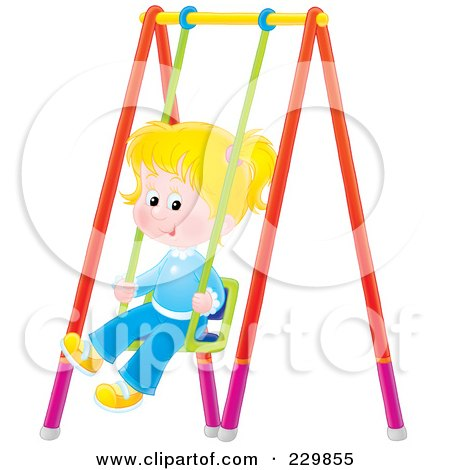 Royalty-Free (RF) Clipart Illustration of a Little Girl On A Swing - 2 by Alex Bannykh