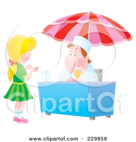 Royalty-Free (RF) Clipart Illustration of a Girl Counting Change For Ice Cream - 2 by Alex Bannykh