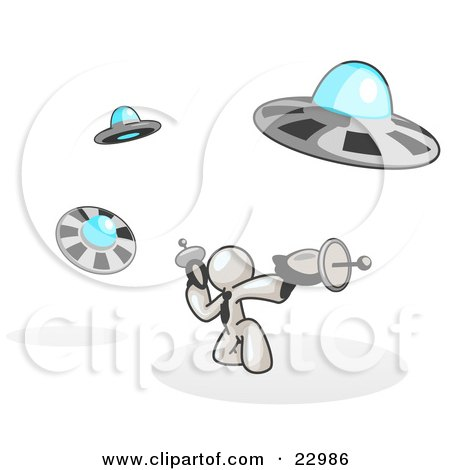 Clipart Illustration of a White Man Fighting Off UFO's With Weapons by Leo Blanchette