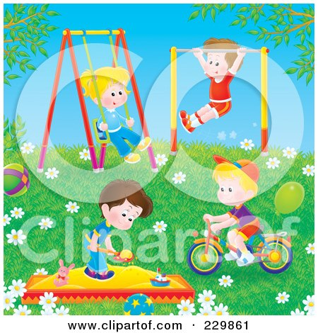 Royalty-Free (RF) Clipart Illustration of Boys And Girls Playing Outdoors by Alex Bannykh