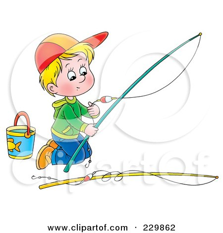 Royalty-Free (RF) Clipart Illustration of a Boy Kneeling And Preparing A Fishing Pole - 1 by Alex Bannykh
