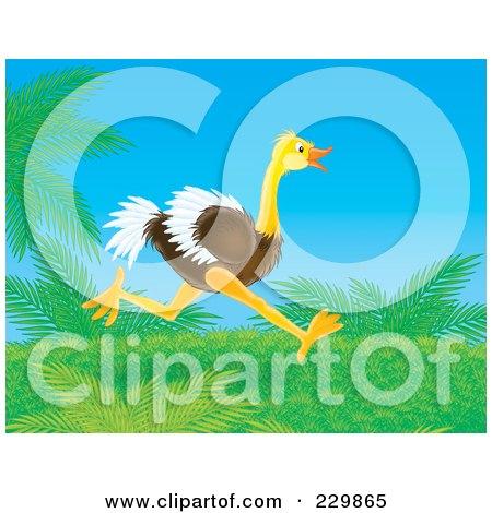 Royalty-Free (RF) Clipart Illustration of an Ostrich Running Through Foliage by Alex Bannykh