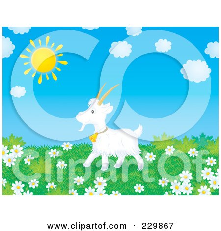 Royalty-Free (RF) Clipart Illustration of a Goat in a Meadow of Daisies by Alex Bannykh