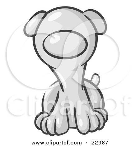 Clipart Illustration of a Cute White Puppy Dog Looking Curiously at the Viewer by Leo Blanchette
