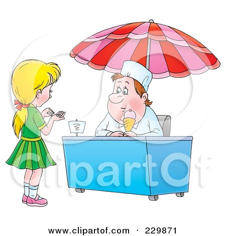 Royalty-Free (RF) Clipart Illustration of a Girl Counting Change For Ice Cream - 1 by Alex Bannykh