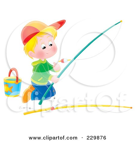 Royalty-Free (RF) Clipart Illustration of a Boy Kneeling And Preparing A Fishing Pole - 2 by Alex Bannykh