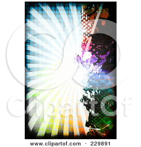 Royalty-Free (RF) Clipart Illustration of a Grungy Colorful Burst With Splatters And Halftone - 1 by Arena Creative