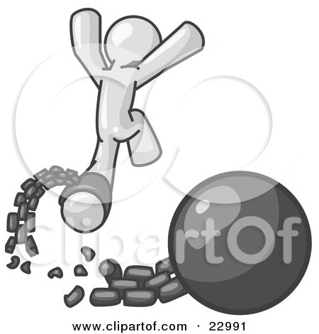 Clipart Illustration of a White Man Jumping For Joy While Breaking Away From a Ball and Chain, Symbolizing Freedom From Debt Or Divorce by Leo Blanchette