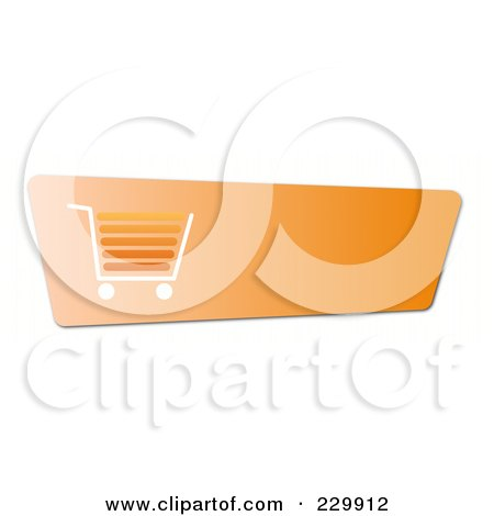 Royalty-Free (RF) Clipart Illustration of an Orange Shopping Cart Button With A White And Orange Cart And Copyspace by oboy
