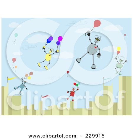 Royalty-Free (RF) Clipart Illustration of Robots Floating Over A City With Balloons by mheld
