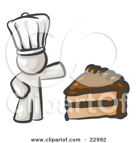 Clipart Illustration of a White Chef Man Wearing A White Hat And Presenting A Tasty Slice Of Chocolate Frosted Cake by Leo Blanchette