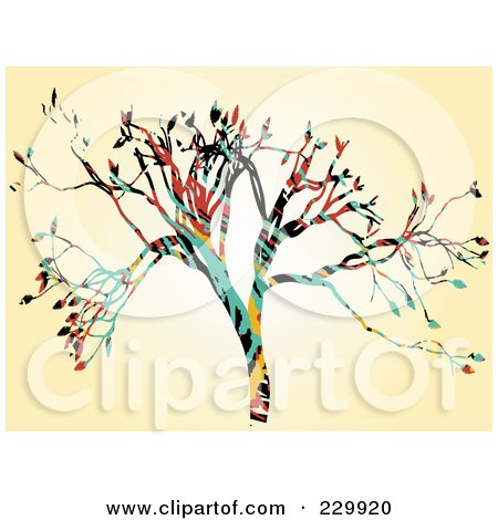 Royalty-Free (RF) Clipart Illustration of an Abstract Colorful Tree On Beige by mheld