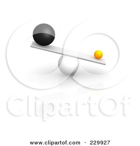 Royalty-Free (RF) Clipart Illustration of 3d Different Sized Balls Oddly Balanced On A Board by Jiri Moucka