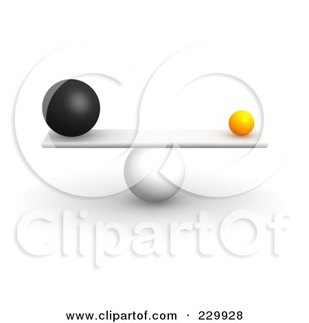 Royalty-Free (RF) Clipart Illustration of 3d Different Sized Balls Balanced On A Board by Jiri Moucka