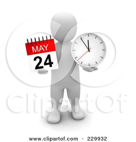 Royalty-Free (RF) Clipart Illustration of a 3d Blanco Man Holding A May Calendar And Clock by Jiri Moucka
