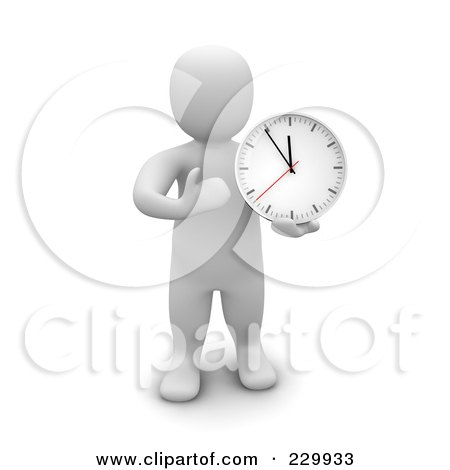 Royalty-Free (RF) Clipart Illustration of a 3d Blanco Man Standing And Holding A Wall Clock by Jiri Moucka
