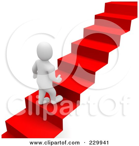 Royalty-Free (RF) Clipart Illustration of a 3d Blanco Man Climbing Up A Red Carpet Staircase by Jiri Moucka