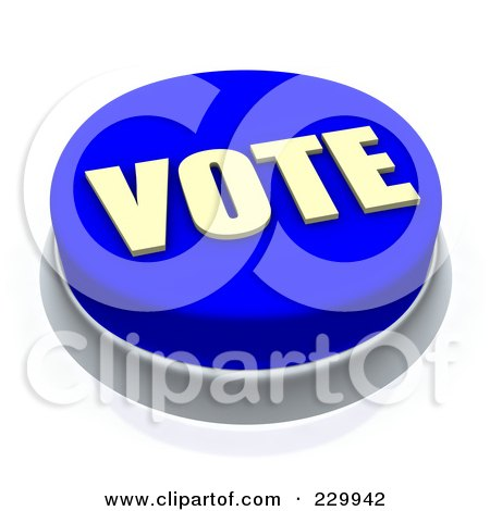 Royalty-Free (RF) Clipart Illustration of a 3d Blue VOTE Push Button by Jiri Moucka