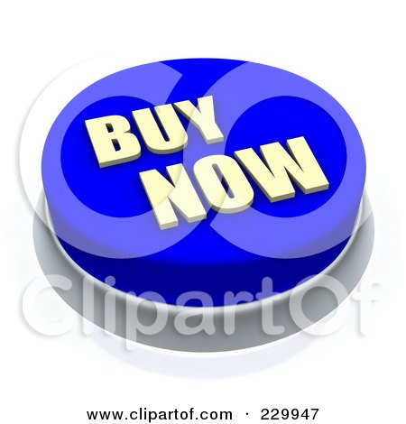 Royalty-Free (RF) Clipart Illustration of a 3d Blue BUY NOW Push Button by Jiri Moucka