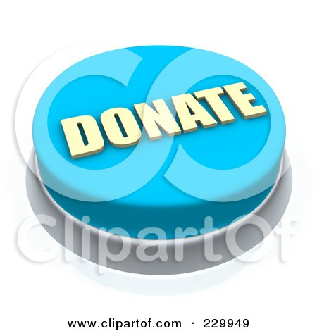 Royalty-Free (RF) Clipart Illustration of a 3d Blue DONATE Push Button by Jiri Moucka