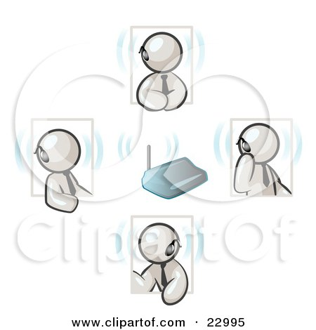 Clipart Illustration of a Group of Four White Men Holding A Phone Meeting And Wearing Wireless Bluetooth Headsets by Leo Blanchette
