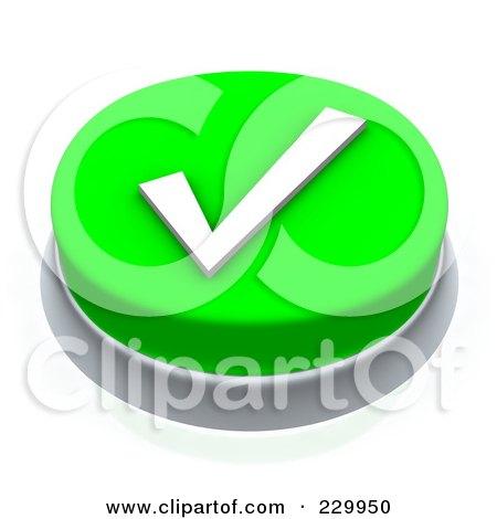 Royalty-Free (RF) Clipart Illustration of a 3d Green Check Mark Push Button by Jiri Moucka