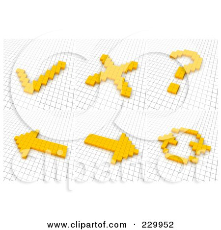 Royalty-Free (RF) Clipart Illustration of a Digital Collage Of 3d Icons Made Of Yellow Pixels On A Grid - 2 by Jiri Moucka