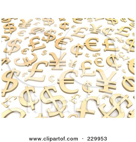 Royalty-Free (RF) Clipart Illustration of a Background Of 3d Gold World Currencies by Jiri Moucka