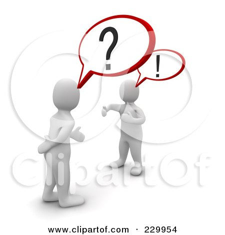 Royalty-Free (RF) Clipart Illustration of 3d Blanco Men Arguing With Each Other by Jiri Moucka