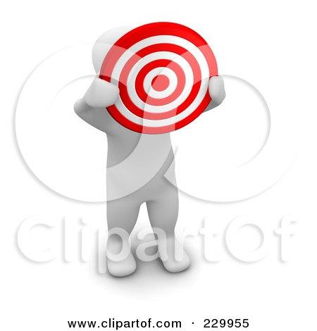 Royalty-Free (RF) Clipart Illustration of a 3d Blanco Man Holding Up A Bullseye by Jiri Moucka