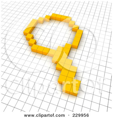 Royalty-Free (RF) Clipart Illustration of a 3d Magnifying Glass Icon Made Of Yellow Pixels On A Grid by Jiri Moucka