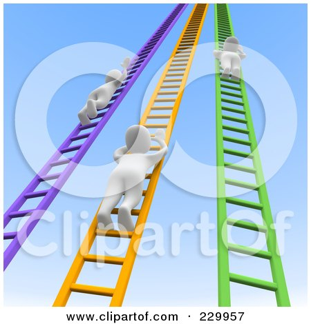 Royalty-Free (RF) Clipart Illustration of 3d Blanco Men Climbing Up Colorful Ladders Into The Sky by Jiri Moucka