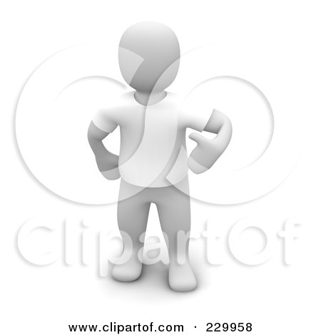 Royalty-Free (RF) Clipart Illustration of a 3d Blanco Man Wearing A White T Shirt by Jiri Moucka