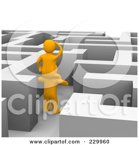 Royalty-Free (RF) Clipart Illustration of 3d Anaranjado Men Trying To Find Their Way Through A Maze by Jiri Moucka