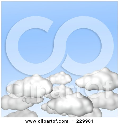 Royalty-Free (RF) Clipart Illustration of 3d Puffy White Clouds In A Light Blue Sky by Jiri Moucka