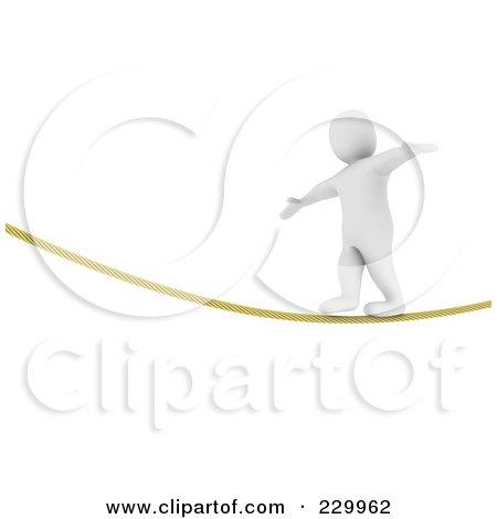 Royalty-Free (RF) Clipart Illustration of a 3d Blanco Man Balancing While Walking On A Rope by Jiri Moucka