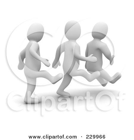 Royalty-Free (RF) Clipart Illustration of 3d Blanco Men Kicking Butt by Jiri Moucka
