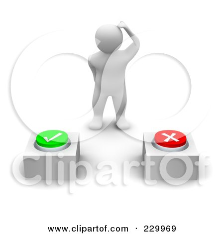 Royalty-Free (RF) Clipart Illustration of a 3d Blanco Man Trying To Decide Which Button To Press by Jiri Moucka