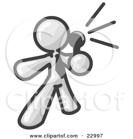 Clipart Illustration of a White Man Holding a Megaphone and Making an Announcement by Leo Blanchette