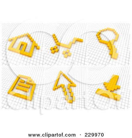 Royalty-Free (RF) Clipart Illustration of a Digital Collage Of 3d Icons Made Of Yellow Pixels On A Grid - 1 by Jiri Moucka