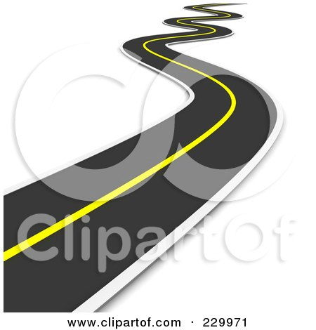 Royalty-Free (RF) Clipart Illustration of a 3d Curvy Road Leading Away Into The Distance by Jiri Moucka